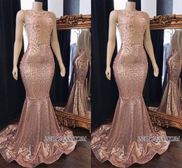 $enCountryForm.capitalKeyWord Australia - Stunning Real Photos Rose Pink Sleeveless Pink Sequins Long Prom Dresses 2019 Jewel Neck Mermaid Evening Gowns With Appliques Plus Size