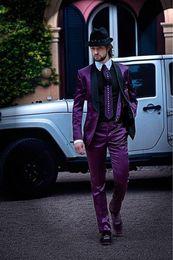 $enCountryForm.capitalKeyWord Australia - New Fashionable Groom Tuxedos Groomsmen One Button Purple Shawl Lapel Best Man Suit Wedding Men's Blazer Suits (Jacket+Pants+Tie) 1279