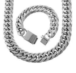 $enCountryForm.capitalKeyWord Australia - Men's 21MM 18K Gold Plated Stainless Steel Tight Miami Cuban Link Choker Chain Bracelet Box Lock