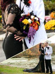 $enCountryForm.capitalKeyWord Canada - Gothic Style Black Wedding Dress See Through Long Sleeve Handmade Appliques Lace Mermaid Wedding Gowns 2018 Bridal Gowns Custom Size