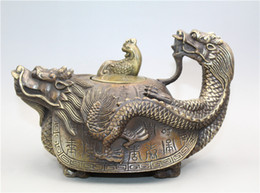 $enCountryForm.capitalKeyWord Australia - Collection Chinese Brass Hand carved Dragon turtle Statue Phoenix lid Teapot