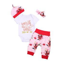 $enCountryForm.capitalKeyWord Australia - 4PCS Set Newborn Baby Clothing Set Worth The Wait Baby Bodysuit Romper+Floral Pant+Hat Headband Outfits Kids Children
