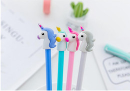 Discount mini gel pens - Black 0.35 mm Cute Unicorn Cartoon Gel Pen Signature Pen Escolar Papelaria School Office Supply