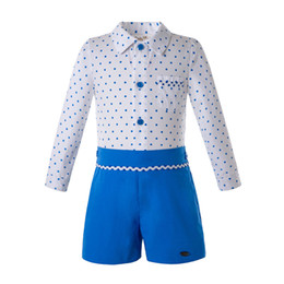 designer kids summer clothing NZ - Pettigirl 2PCS Sets Summer Baby Boy Clothing Sets Long Sleevees Dot White Shirt+Royal Blue Shorts Kids Designer Clothes B-DMCS203-59