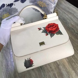 handbag rose lady NZ - 2018 European and American new style color printed rose lady handbag,Genuine Leather English single shoulder skew spanning bag