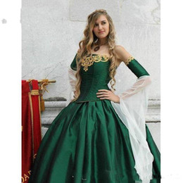 $enCountryForm.capitalKeyWord Australia - 2019 Gothic Wedding Dresses Halloween Victorian Bridal Gowns Long Sleeves Floor Length Corset Back Satin Hunt Green Wedding Gowns