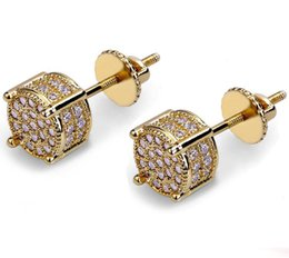 ice screws 2019 - New Design Gold Color Plated Iced Out Cubic Zircon Round Stud Earring Screw Back Hip Hop Jewelry for Male Women cheap ic