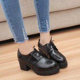 Female Dresses NZ - Dress Shoes Han Edition Thick With British Female Students Small Leather Low To Help The Pu With