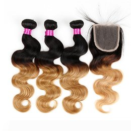 raw hair sale NZ - Raw Indian Hair Body Wave Ombre Hair With Closures Indian Hair Weaves For Sale T1B 27,T1B 4 27