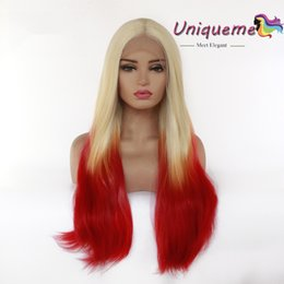 African Americans Red Hair Australia - Ombre Red Synthetic Hair Lace Front Wig Middle Part Lace Wigs Glueless High Temperature Fiber Synthetic Wigs Cheap Wigs For African American