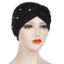 Cotton Braiding Australia - Muslim Women Hijab Braid Cross Silky Cotton Bead Pearl Turban Hats Cancer Chemotherapy Chemo Beanies Cap Headwear Hair Accessories