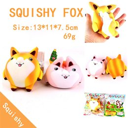 fox toys children UK - Squishy Cute Fox 13cm Scented Cream Slow Rising Squeeze Decompression Toys For Children Adults Relieves Stress Phone Strap 20pcs
