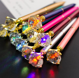 student light Canada - LED Light Big Diamond Pen Creative NEW Design Super Crystal Light Metal Ballpoint Pens Writing Stationery Office School Student Gift SN2966