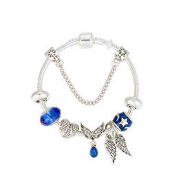 $enCountryForm.capitalKeyWord Australia - Silver Snake Chain DIY Charm Bracelet With Snowflake Wing Heart Enamel Blue Bead Fine Bracelets For Women Kids Jewelry with gift box