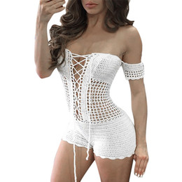 ad087c5dad447 Fashion Women Sexy Acrylic Jumpsuit Crochet Beach Fishnet Sarong Handmade  Solid Bodysuit Bodycon Knitting Jumpsuits 10Feb 20