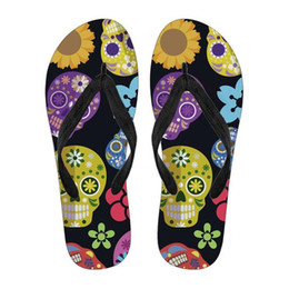 Art Canvas Prints Australia - Customized Flip Flops Trendy Sugar Skulls Art Pattern Summer Women's Flip Flops Flats Slip-on Ladies Slippers Fashion Women