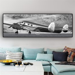 Discount aircraft paintings - 1 Pcs Retro Aircraft Canvas Art Abstract Blank and White Posters and Prints Airplane Painting Wall Picture No Frame