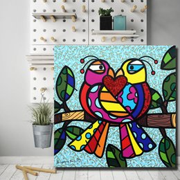 hd prints canvas NZ - Romero Poster Brasil Love Colorful birds Comics Canvas Painting Wall Art Street Poster HD Print Picture for Living Room Home Decor