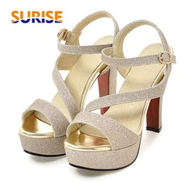 $enCountryForm.capitalKeyWord NZ - Summer Women Platform Sandals Bling Glitter Pu Leather 12cm High Chunky Spike Thick Heel Open Toe Ankle Cross Strap Gold Sandals Y19070303
