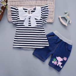 Baby Girl Summer Suits Australia - Girl Summer Clothes Sets 2019 New Bow Suit for Baby Girl Short Sleeve Striped Tshirt + Pants Girls Clothing 1 2 3 4 Years
