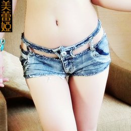 low waist sexy girls jeans Australia - Sexy NightClub Girls Low Waist Denim Shorts Hollow Out Micro Mini Jeans Shorts Femme Womens Disco Dance Hotpants