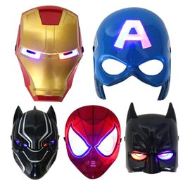 Adult Captain America Mask Australia - Christmas LED Glowing superhero mask for kid & adult Avengers Marvel spiderman ironman captain america hulk party mask