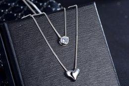 $enCountryForm.capitalKeyWord Australia - Top Quality 925 Sterling Silver Necklace Double Layer Chain Zircon Heart Pendants Necklaces For Women Wedding Jewelry Best Gifts