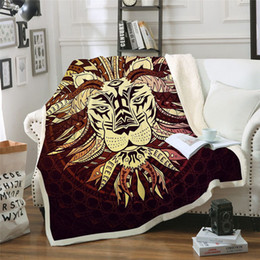 Discount quilt bedspread king - BeddingOutlet Tribal Chief Lion Printed Velvet Plush Throw Blanket Bedspread for Kid Girl Sofa Sherpa Blanket Couch Quil