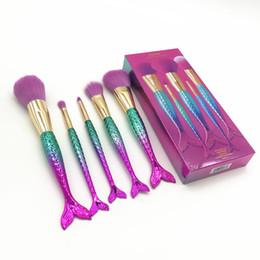 China 5pcs Mermaid Makeup Brushes Set Eyebrow Shadow Foundation Powder Cosmetic Brush with box Pretty girl brush Make Up Tools Kits GGA1899 cheap plastic nylon suppliers