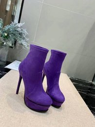 sexy purple ankle boots NZ - New 2019 Designer Women Suede Party ankle boots Brand Ladies Sexy stiletto high Heels short boots Chaussure Homme size 35-41