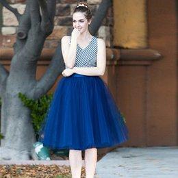 Venta al por mayor de Señoras del verano moda caliente retro color sólido falda nueva cintura alta de 7 capas falda de tul para mujer falda de ballet adulto