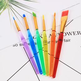 Toptan satış 6 Sopa Şeffaf DIY Çocuk Suluboya Fırça Renkli Çubuk Boyama Fırça Dayanıklı Çocuklar Yumuşak Fırça Çizim Kalem DH1200