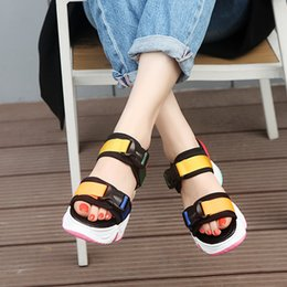Discount mesh wedge sandals Colorful Buckle Black White Mesh Sport Sandals Women Rainbow Sole Casual Platform Wedge Sandals Women Shoes Summer Beach