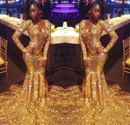 $enCountryForm.capitalKeyWord Australia - Amazing Gold Sequins African Prom Evening Dresses For Black Girls Mermaid V neck Long Sleeves Sweep Train Pageant Formal Dress Gown Cheap