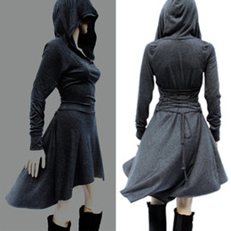 Discount cosplay women s long dresses - Women Medieval Hedge Dress Gothic V collar Hooded Lace up Renaissance Dress Long Sleeve Cosplay Dresses Short Asymmetric