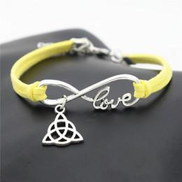 $enCountryForm.capitalKeyWord Australia - Minimalism Infinity Love Triangle Triquetra Symbol Trinity Knot Pendant Charm Bracelets Bangles For Womens Mens Yellow Leather Suede Jewelry