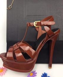 sl dresses 2019 - Fashion Brand SL Womens High Heel Sandals 135MM Platform Summer Pumps Party Ankle Strap Dress 100% Genuine Leather Ladie