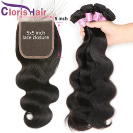 Real Peruvian Human Hair Closures Australia - Newest 5x5 Swiss Lace Top Closures With Body Wave 3 Bundles Peruvian Virgin Real Human Hair Extensions Cheap Unprocessed Wavy Weaves Closure