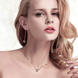 $enCountryForm.capitalKeyWord Australia - LeReveur Jewelry Real 925 Sterling Silver Double C Pendant Necklace and Dangle Earrings Set for Women Girls Silver Rose-gold Plated