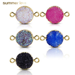 Bracelet sliders online shopping - New Nature Resin Gemstone Druzy Diy Charm fit Women Bracelet Necklace Double Side Resin Pendant for Diy Jewelry Making
