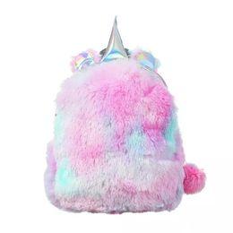 Backpack for gym online shopping - Rainbow Color Women Designer Bookbag Plush Unicorn Shaped Backpack For Students Outdoor Sports School Bag MMA1155
