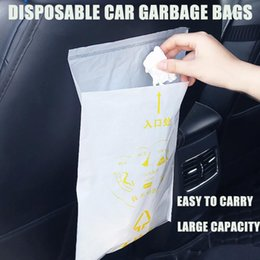 trash car UK - 40PCS Car Trash Bag Disposable With a Strong Sticky Strip Portable Rubbish Bag Car Trash Garbage Rubbish Disposable
