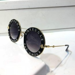 Pc Uv Case Australia - Luxury 0113S Sunglasses For Women Fashion 0113 Designer Round Summer Style Black Gold Frame Top Quality UV Protection Lens Come With Case