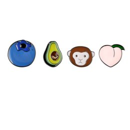 Wholesale Cartoon Animal Plant Cute Monkey Peach Avocado Blueberry Metal Brooch Pins DIY Button Pins Denim Jacket Pin Badge Gift Jewelry