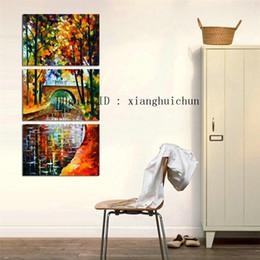 $enCountryForm.capitalKeyWord NZ - Leonid Afremov : Stone Bridge River -2,3 Pieces Home Decor HD Printed Modern Art Painting on Canvas (Unframed Framed)