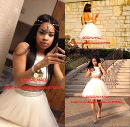 727e17d539 2019 Cheap Black Girl Short Homecoming Dresses Crystals Ivory Tulle Two  Pieces Prom Dress Graduation Backless Cocktail Party Gowns Under 100
