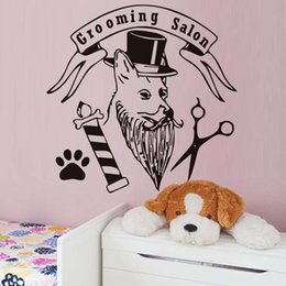 nature hats NZ - Fashion Pet Grooming Salon Wall Sticker For Pet Shop Dog With Hat Paw Scissors Funny Removable Wall Decal Home Decor Accessories