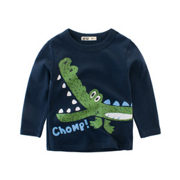 tees long winter Australia - T-Shirts Baby Boys Tops Spring Long-Sleeve Autumn White Kids Fashion Children Tee Cotton Cartoon Print Dinosaur Toddler