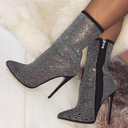 Pop 2019 Zapatos Mujer Sapato Women Boots Ankle Ladies Chaussure Thin High  Heels Pumps Rome Booties Shiny Crystal Shoes Woman 9ff06cabe18e