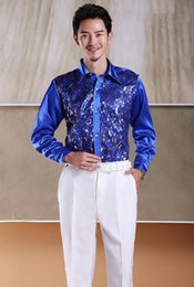 Stage Shirts Australia - Men's 8 Colours Sequins Long-sleeved Shirt Singer Stage Costumes Men's Dress Shirt Gemelos Para Hombre Camisa